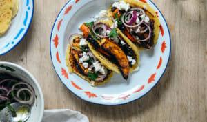 Tortillas au potimarron rôti lentilles et sauce au chocolat