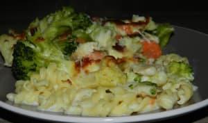 Gratin de pâtes aux poissons et ses légumes d'hiver
