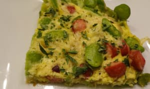 Omelette de fèves et pecorino