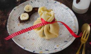 Aumônières de crêpes banane chocolat
