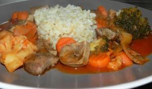 Rognons en sauce et ses légumes