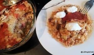 Gratin de chou, viande et riz comme à la Cluj