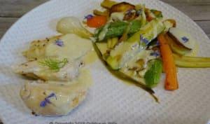 Filets de poulet sauce au Maroilles, poêlée de légumes sautés
