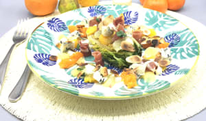 Salade d'agrumes, sucrine, jambon et fromage