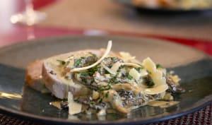 Morilles à l'estragon et au parmesan et rôti de porc