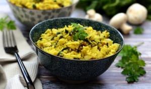 Riz pilaf aux blettes, champignons et curcuma