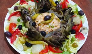 Salade composée riz au thon det légumes