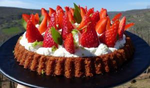 Tarte renversée aux fraises, ganache montée basilic-citron vert