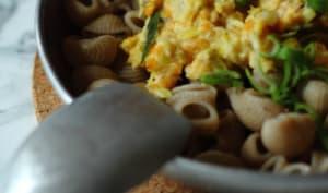 Pâtes et sauce crémeuse aux lentilles corail