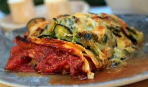 Lasagnes aux courgettes, tomates et chèvre