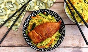 Saumon laqué et riz pilaf aux légumes printaniers