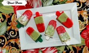 Popsicles fraise, basilic et kéfir