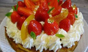 Gâteau fraises, noisettes, citron et clémentines confits