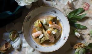 Barigoule d'artichauts aux langoustines