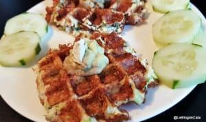 Gaufres salées aux courgette, bacon et parmesan