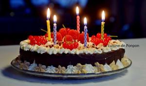 Gâteau magique au chocolat garni de chantilly à la vanille et ricoré accompagnée de framboises et groseilles rouges