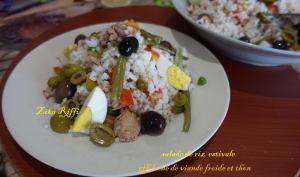 Salade de riz à l'effiloché de viande froide et thon aux légumes