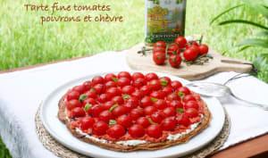 Tarte fine aux tomates, poivrons et chèvre