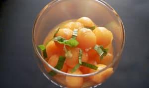 Billes de melon au miel de lavande et, au gingembre.