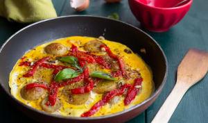 Omelette aux pommes de terre et poivrons confits