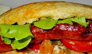 Batbout aux légumes et merguez cuisson à la plancha