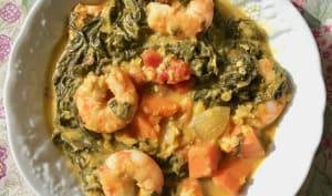 Dahl d'épinards, patate douce et lentilles corail. Avec ou sans crevettes
