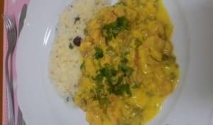 Curry jaune de fleur de bananier (babafigue) et crevettes