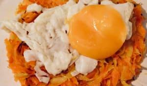 Röstis de carottes et œuf au plat