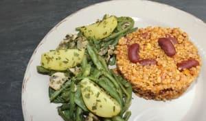 Poêlée de champignons, pommes de terre et haricots verts à l'ail et au persil