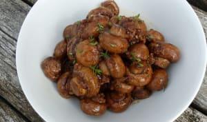 Champignons rôtis, sauce soja, balsamique, ail et thym