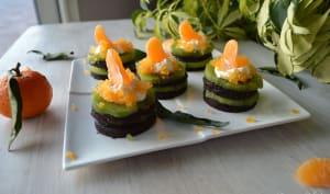 Mille-feuille de mandarine kiwi chocolat crus