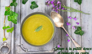 Soupe de patate douce et épinard au curry