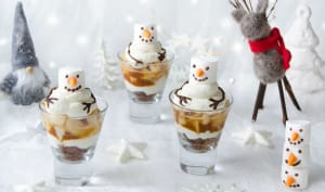 Verrines poires caramel Bonhommes de neige