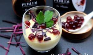 Crème de boule d'or, perles de cassis