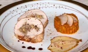 Poitrine de dinde farcie aux marrons et aux poires