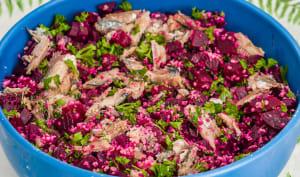 Salade de semoule, betteraves et sardines