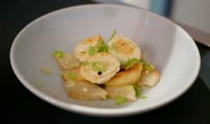 Boudin blanc truffé poêlée de pommes et poires et céleri branche