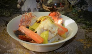 Cocotte de lotte et homard en sauce crémée