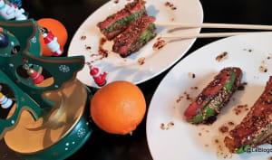 'Tataki' de noix de jambon fumée au sapin et d'avocat