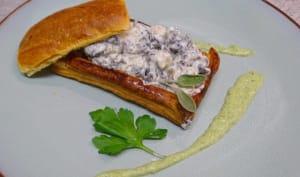 Feuilletés d'escargots crème à la sauge et coulis de persil