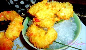 Tempura de crevettes et vermicelles de soja