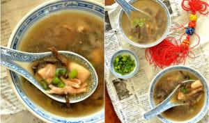 Soupe de poulet aux champignons noirs