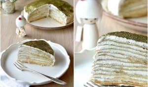 Gâteau de crêpes citron et thé matcha
