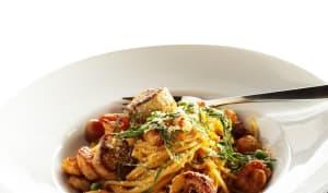 Spaghetti aux noix de Saint-Jacques et crevettes