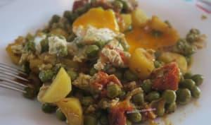 Poêlée de petits-pois et pommes de terre à l'œuf coulant