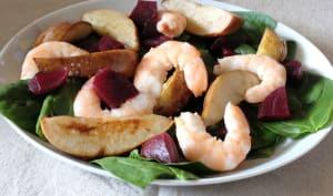 Salade de crevettes, poires et betteraves