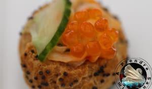 Choux au crabe et œufs de truite