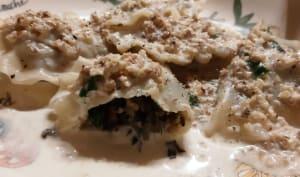 Ravioles aux escargots, sauce aux noix