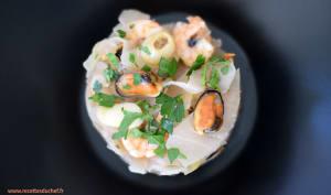 Chou blanc aux fruits de mer