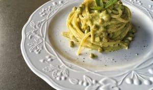 Spaghettis petits pois, menthe et mascarpone
